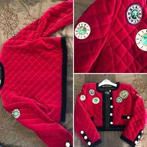 Vintage Escada cropped jacket, sequins clocks